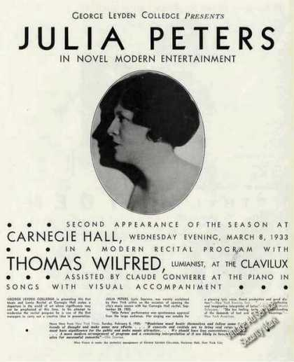 Julia Peters Photo Soprano Recitals/concer (1933)