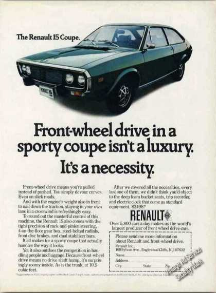 Renault 15 Coupe Front Wheel Drive Isn't Luxury (1973)