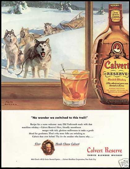Calvert Whiskey Husky Dog Snow Sled Tom Lovell (1948)