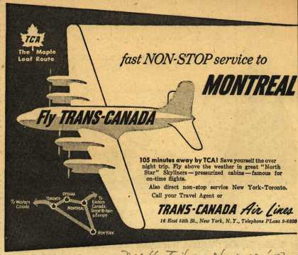 Trans-Canada Air Line's Montreal – fast Non-Stop service to Montreal (1950)