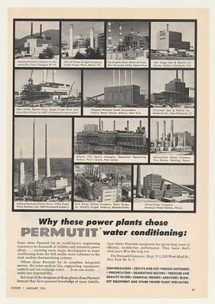 12 Electric Power Plants Permutit Water Cond (1956)