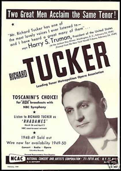 Richard Tucker President Harry Truman Review (1949)