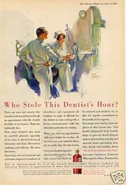 Lavoris Mouthwash Ad Dentist (1929)