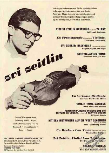 Zvi Zeitlin Violinist Collectible Trade (1962)