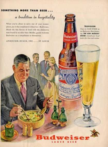 Budweiser Lager Beer Bottle Salad Ad T (1955)