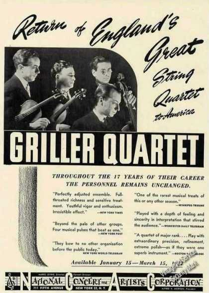 Griller String Quartet Photo Booking (1946)