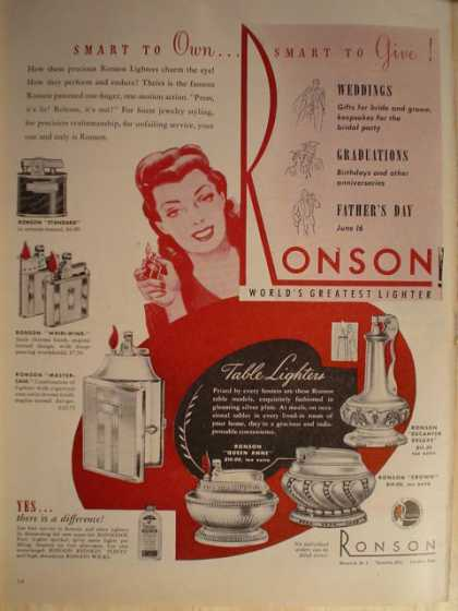 Ronson lighters (1946)