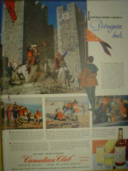 Canadian Club Whiskey Portugese duel castle theme (1955)