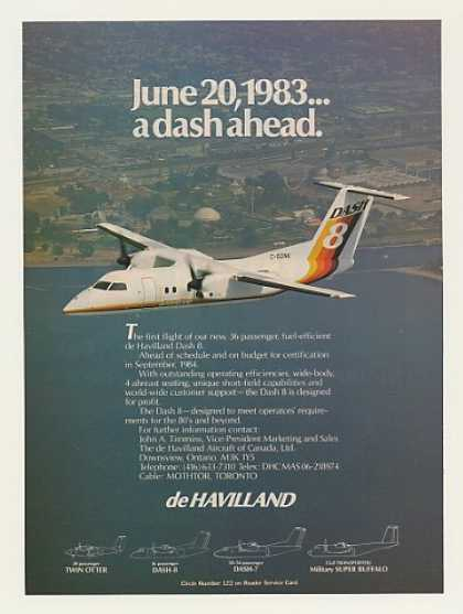 De Havilland Dash 8 Aircraft First Flight Photo (1983)