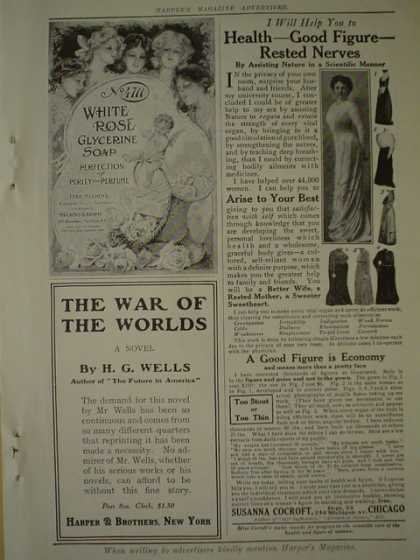 White Rose Glycerine Soap AND Harper Brothers War of the World HG Wells AND New York City Car advertising Co (1910)