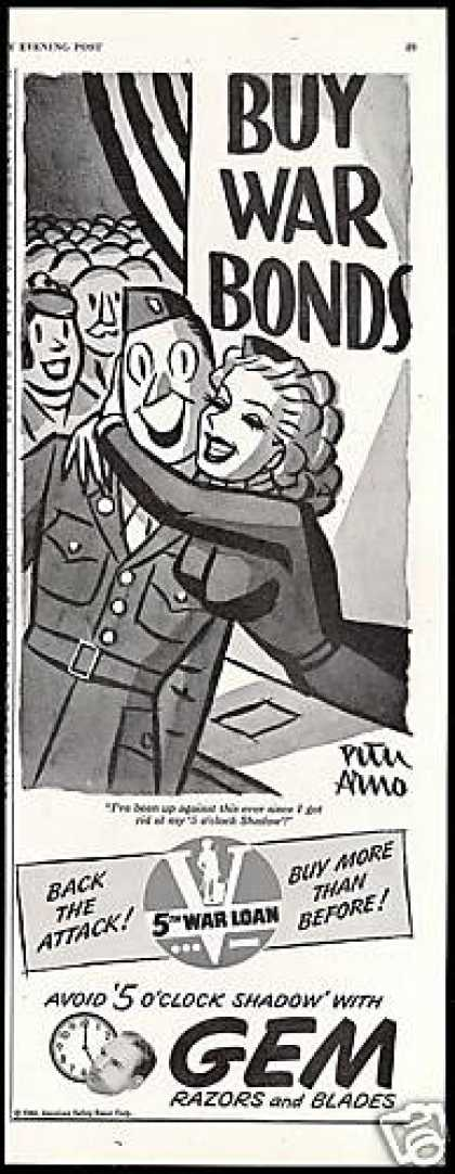 WWII Buy War Bonds Peter Arno Art Gem Razor (1944)
