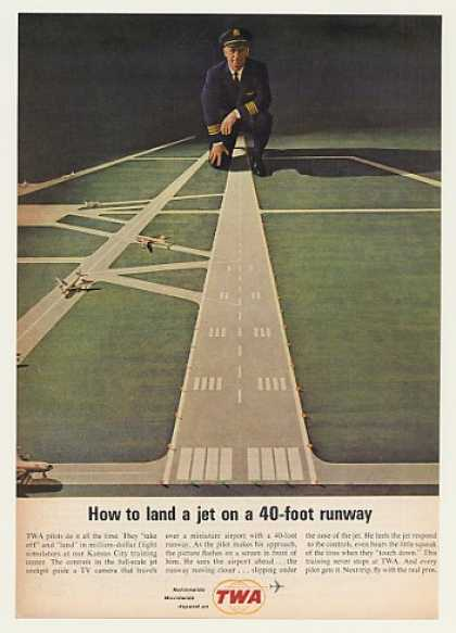 TWA Airlines Pilot Runway Flight Sim Training (1963)