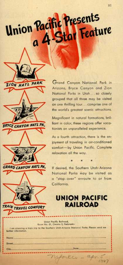 Union Pacific Railroad's Southern Utah-Arizona National Parks – Union Pacific Presents a 4-Star Feature (1947)