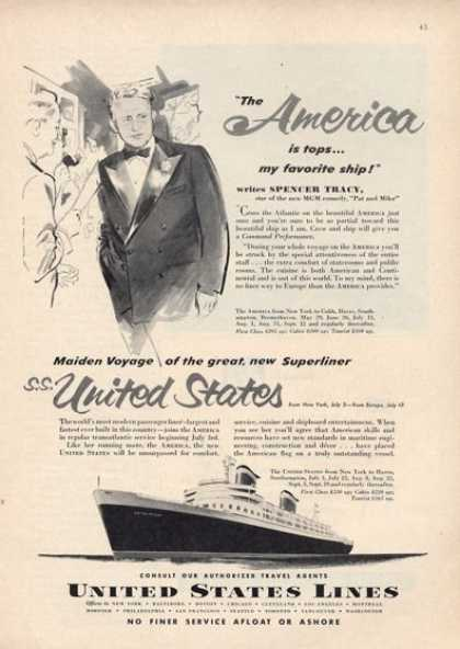 United States Lines Cruise Ship Boat Spencer (1952)