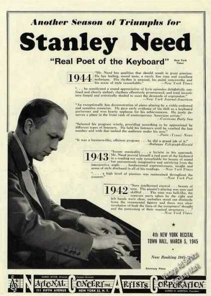 Stanley Need Photo Pianist Booking (1945)