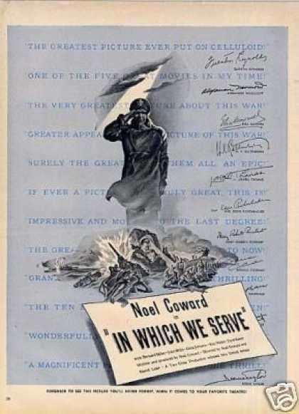 "Movie Ad ""In Which We Serve"" Noel Coward (1943)"