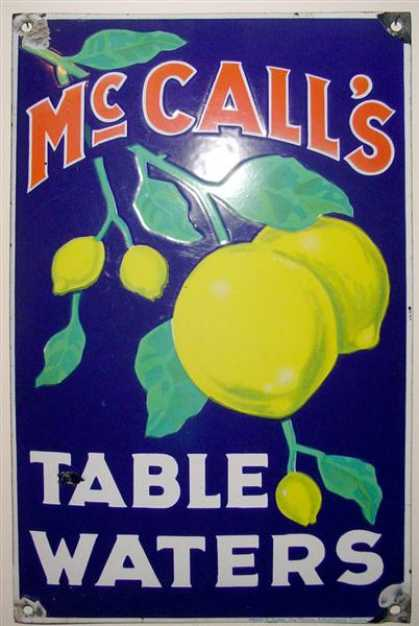 Mc Call's Table Waters Enamel Sign