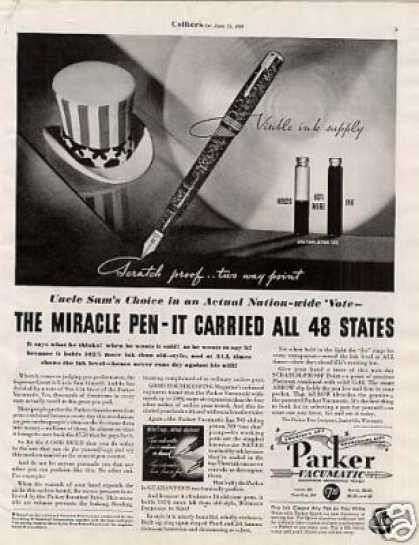 "Parker Vacumatic Pen Ad ""The Miracle Pen... (1936)"