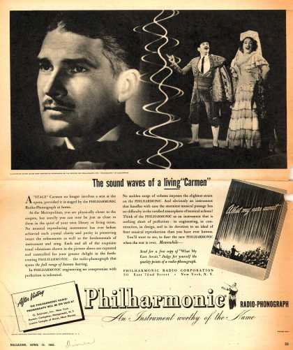 "Philharmonic Radio Corporation's Philharmonic radio-phonograph – The sound waves of living ""Carmen"" (1945)"