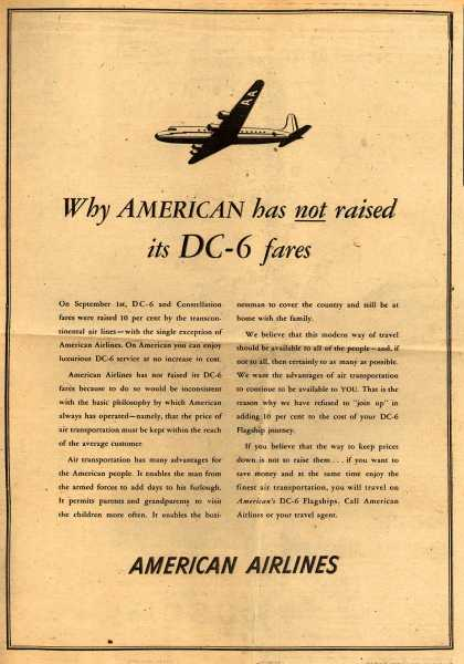 American Airlines – Why American has not Raised its DC-6 Fares (1948)