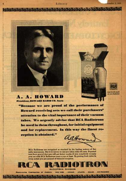 Radio Corporation of America's Radio Tubes – A.A. Howard, President, Howard Radio Co. Says: (1929)