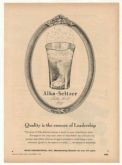 Alka-Seltzer Quality Essence Leadership Trade (1948)