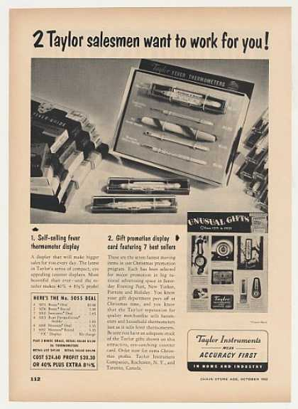 Taylor Instrument Fever Thermometers Gift Trade (1952)