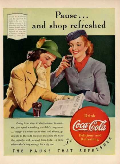 Coca Cola Coke Drinking Glass Womens Fashion Ad T (1940)
