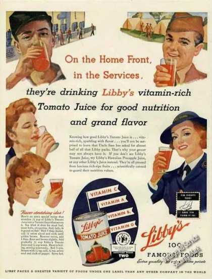 Libby's Tomato Juice Collectible Wwii (1943)