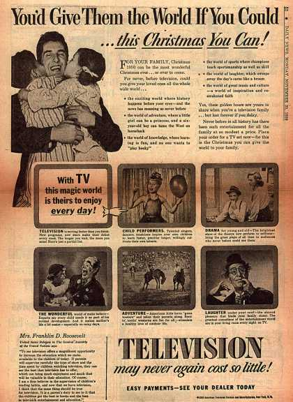 American Television Dealers and Manufacturer's Television Watching Promotion – You'd Give Them the World If You Could (1950)