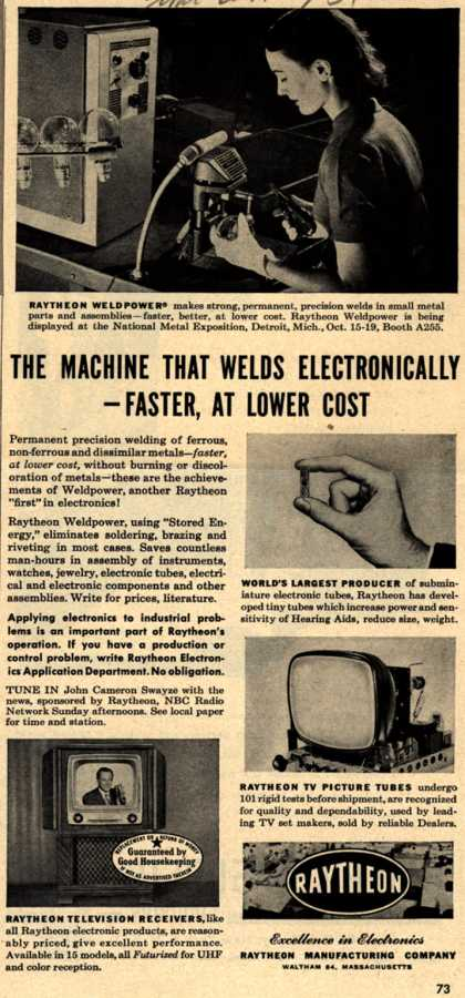 Raytheon Manufacturing Company's Various – The Machine That Welds Electronically-Faster, At Lower Cost (1951)