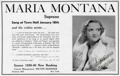 Maria Montana Photo Soprano Booking (1939)