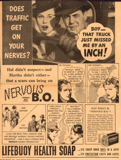 Lever Brothers Company's Lifebuoy Health Soap – DOES TRAFFIC GET ON YOUR NERVES? (1940)