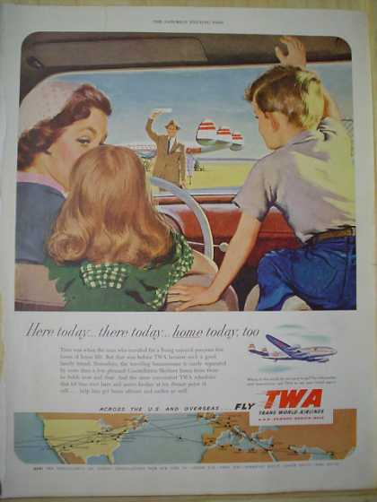 TWA Airlines Plane Airplane Here today ,there today, home today Father returning home (1952)