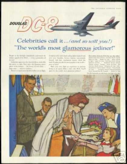 Douglas DC-8 DC8 Stewardess Celebrity Art (1960)