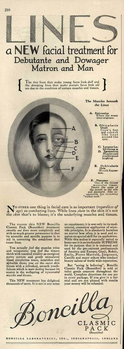 Boncilla Laboratorie's Boncilla Cosmetics – LINES a new facial treatment for Debutante and Dowager, Matron and Man (1928)