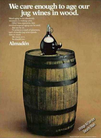 Almaden Jug Wines Are Aged In Wood Attractive (1974)