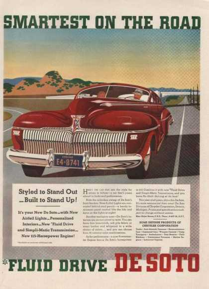 Smartest On the Road Desoto Red Car (1941)