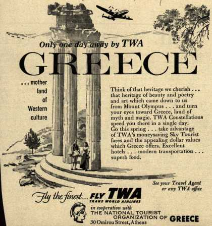 Trans World Airline's Greece – Only one day away by TWA, Greece (1954)
