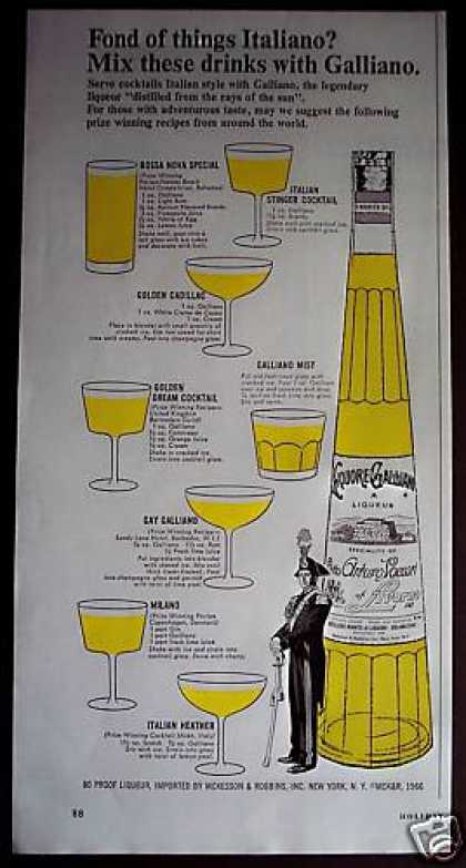 Galliano Liqueur Mixed Drink Recipe (1966)
