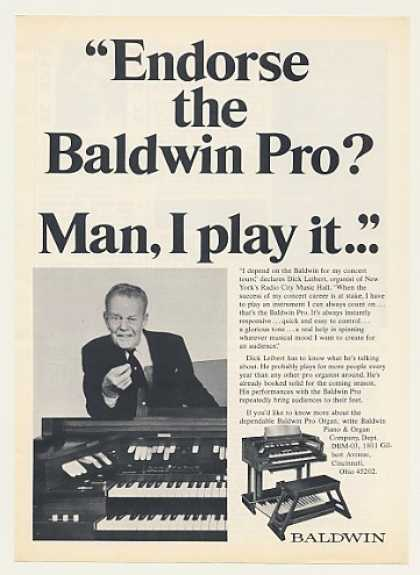 Dick Leibert Baldwin Pro Organ Photo (1970)
