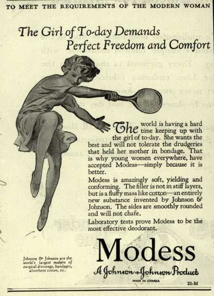 Modes's Sanitary Napkins – The Girl of To-Day Demands Perfect Freedom and Comfort (1929)