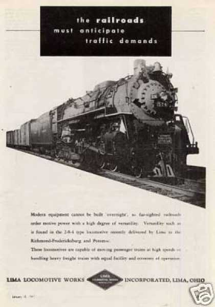 Lima Locomotive Ad Rf&p 2-8-4 #574 (1947)