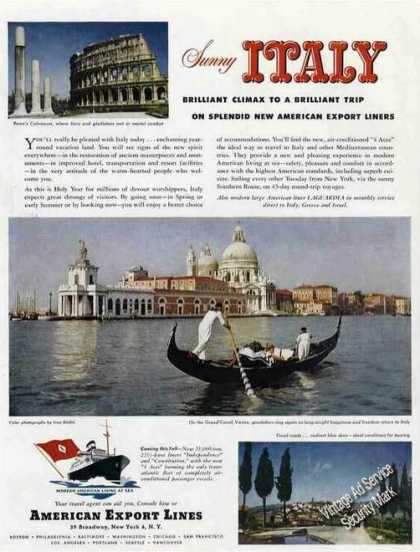 American Export Lines Italy Grand Canal Travel (1950)