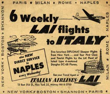 Italian Airline's Italy – 6 Weekly LAI flights to Italy (1954)