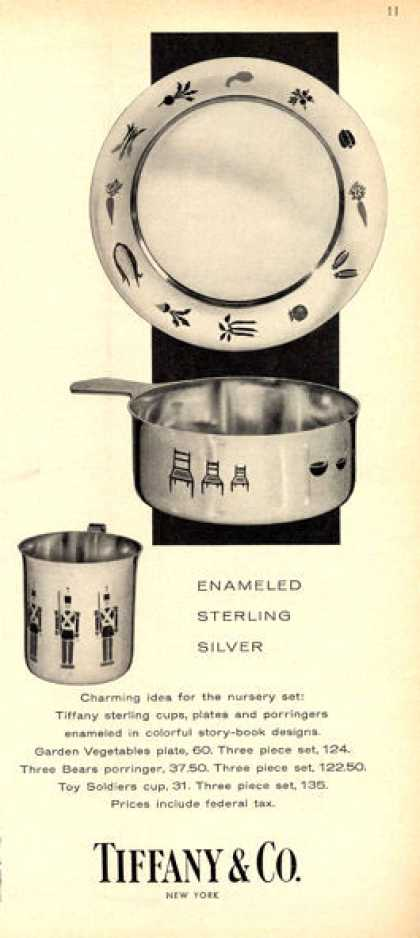 Tiffany Enameled Sterling Silver Nursery Set (1960)