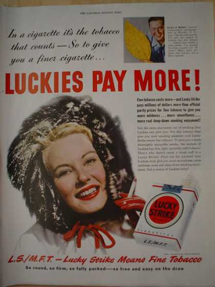 Lucky Strike Cigarettes. It's the tobacco that counts (1950)