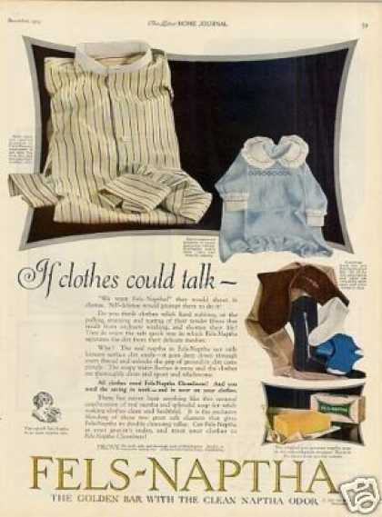 "Fels-naptha Soap Ad ""If Clothes Could... (1923)"