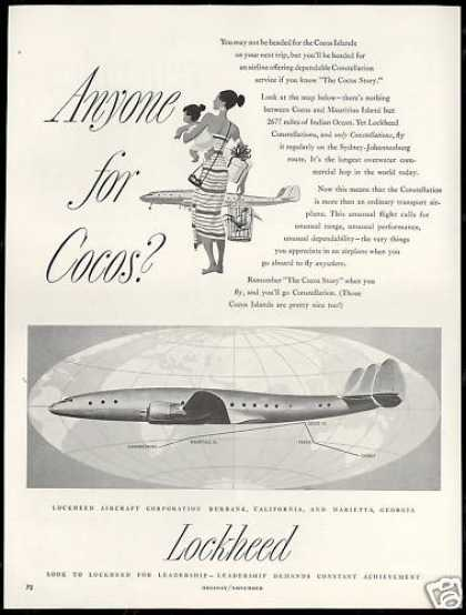 LockHeed Constellation Airplane Cocos Islands (1952)