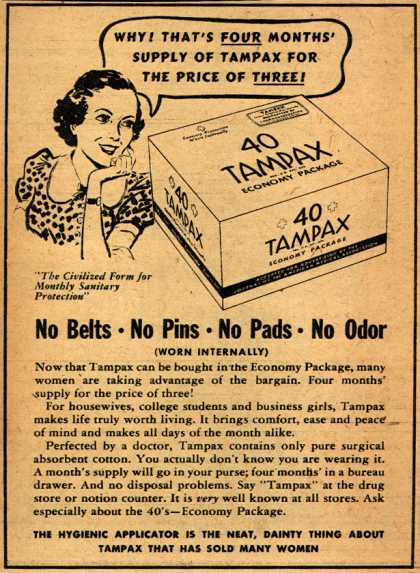 Tampax's Tampons – No Belts No Pins No Pads No Odor (1939)